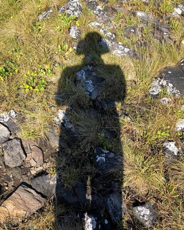 The shadow of a standing person on grass and rocks.