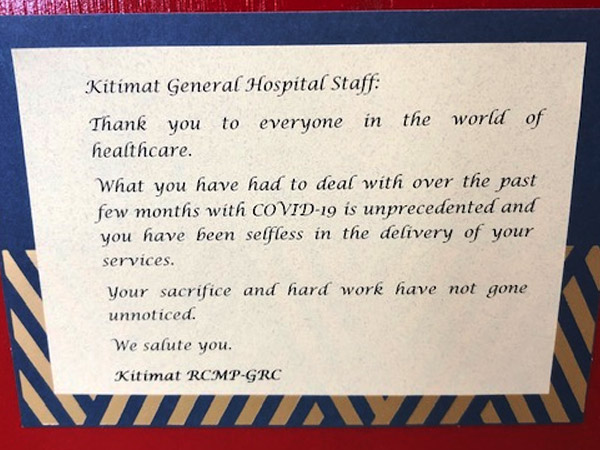 A plaque thanking health care workers for their contributions during COVID-19.
