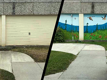 Before and after look at the mural progress