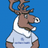 Spirit the caribou mascot with Northern Health written on his blue shirt.