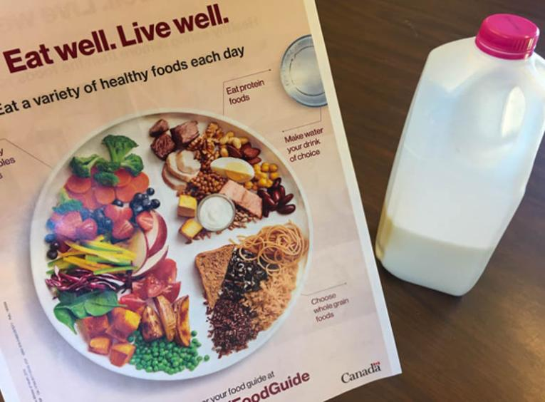 The Canada's Food Guide and a jug of milk.