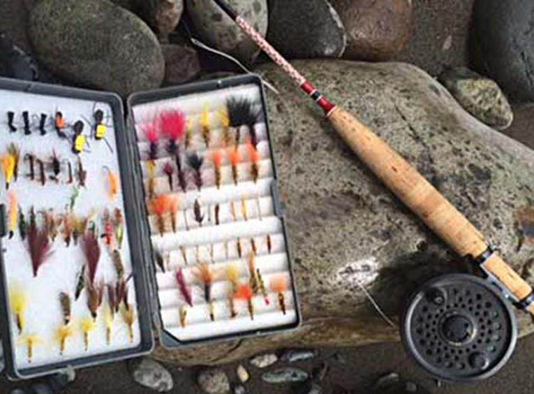 Fly rod and tied flies