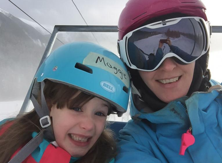 Gillian and her oldest daughter, Maggie (8), skiing at Shames Mountain.