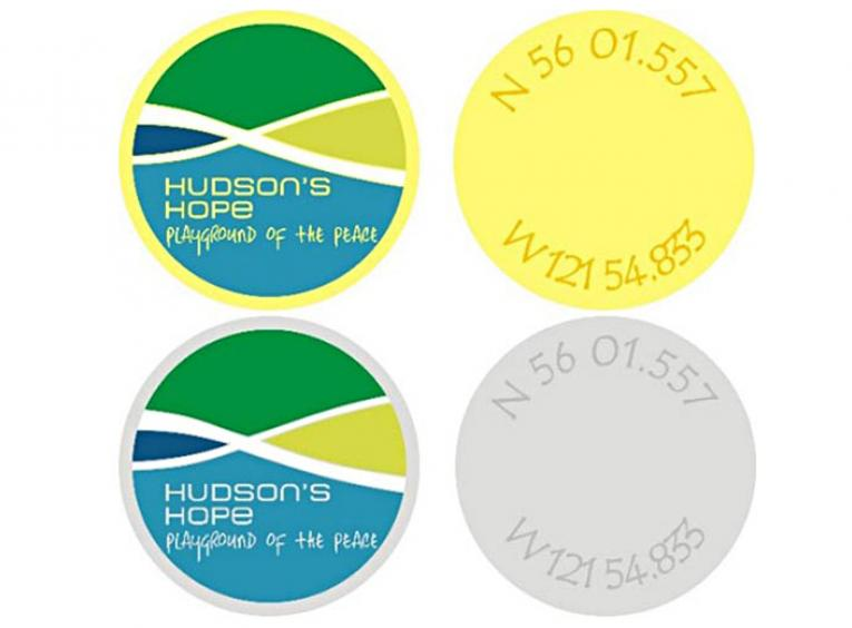 Geocaching coins graphic with geocaching coordinates