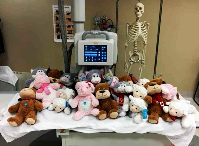 A hospital bed is covered in stuffed animals.
