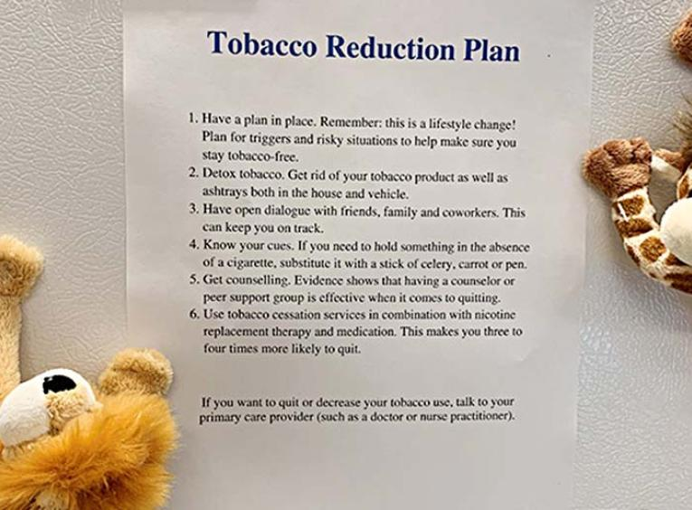 A paper entitled tobacco reduction plan held by magnets to a fridge.
