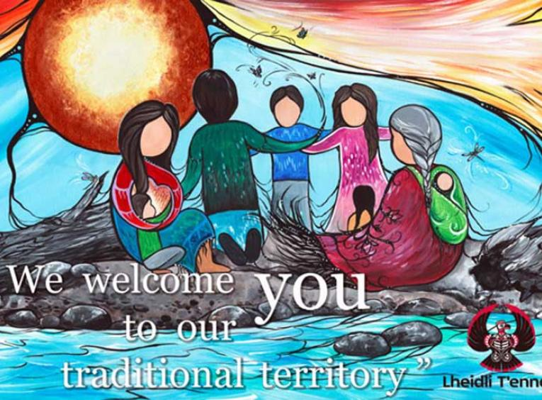 "A picture of the welcome sign, which reads, ""We welcome you to our traditional territory."" The Lheidli T'enneh logo is in the bottom right. The image is of faceless-yet-friendly people, painted with bright, vibrant colours."