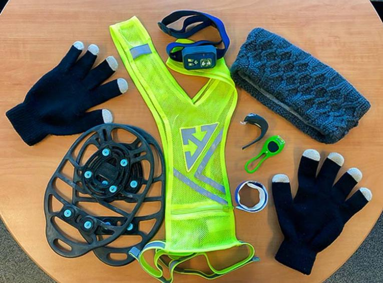 A selection of gear for winter running.