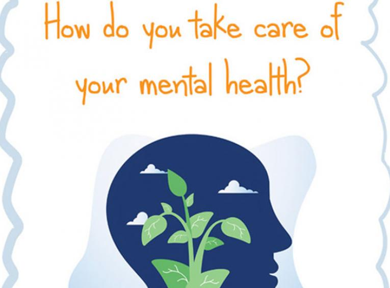"One of the graphics used during the Youth Mental Health campaign. This one says, ""How do you take care of your mental health?"" There is a silhouette of the side view of a head with a plant growing in it."