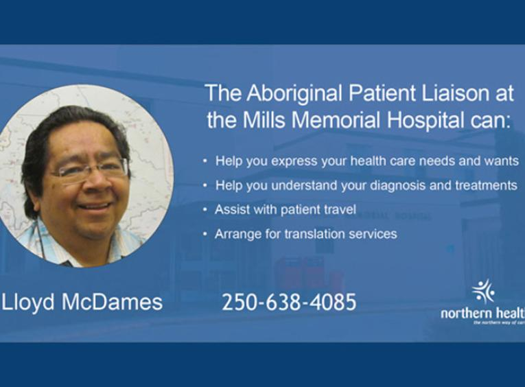 Lloyd McDames smiles at the camera. Text highlights what Llyod, an Aboriginal Patient Liason at Mills Memorial.