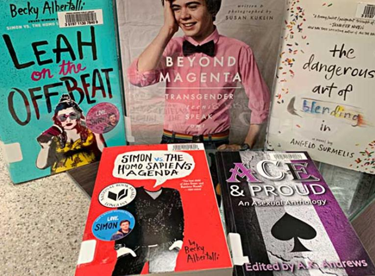 A selection of books with LGBTQ2 related themes.