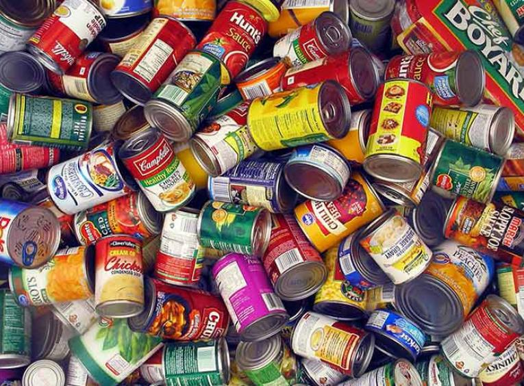 Pile of of canned foods.