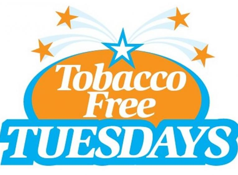 Orange and blue graphic stating Tobacco Free Tuesdays