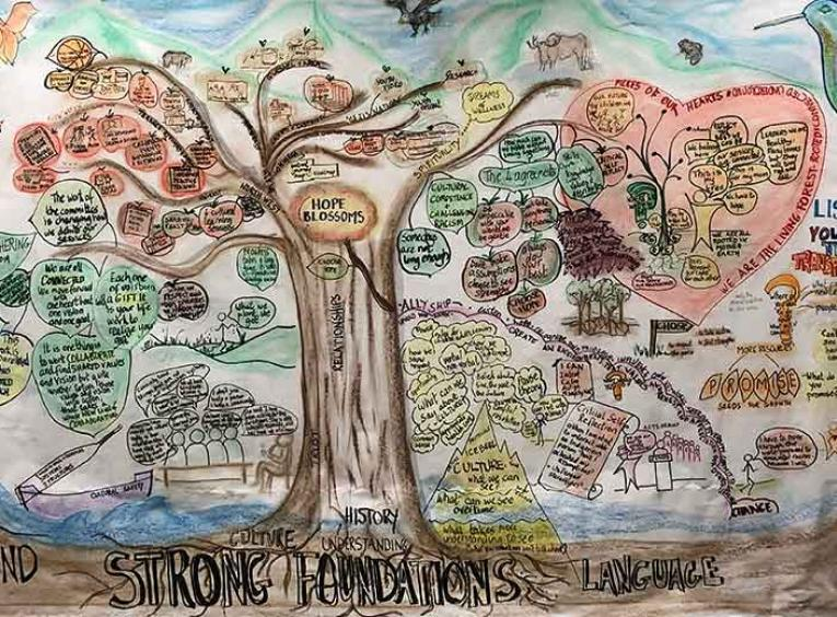 A drawing of a tree with words related to the AHIC work.