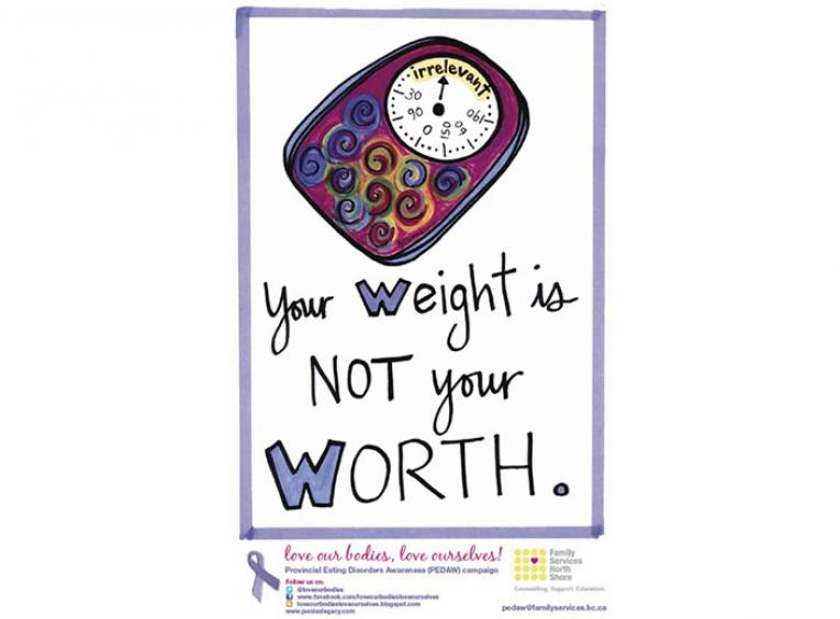 "Poster stating ""your weight is not your worth"""