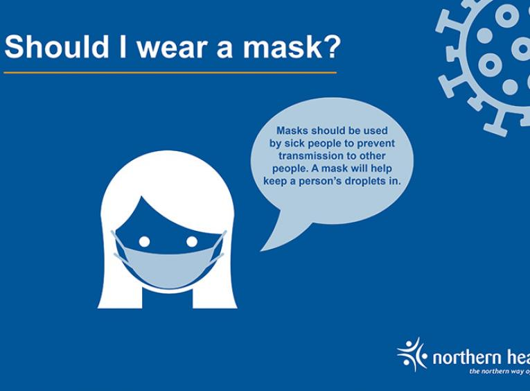 A graphic of a woman wearing a mask with text about masking.