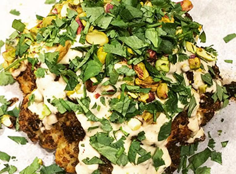 Roasted cauliflower sprinkled with cilantro