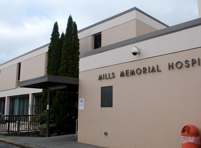 The outside of Mills Memorial Hospital.