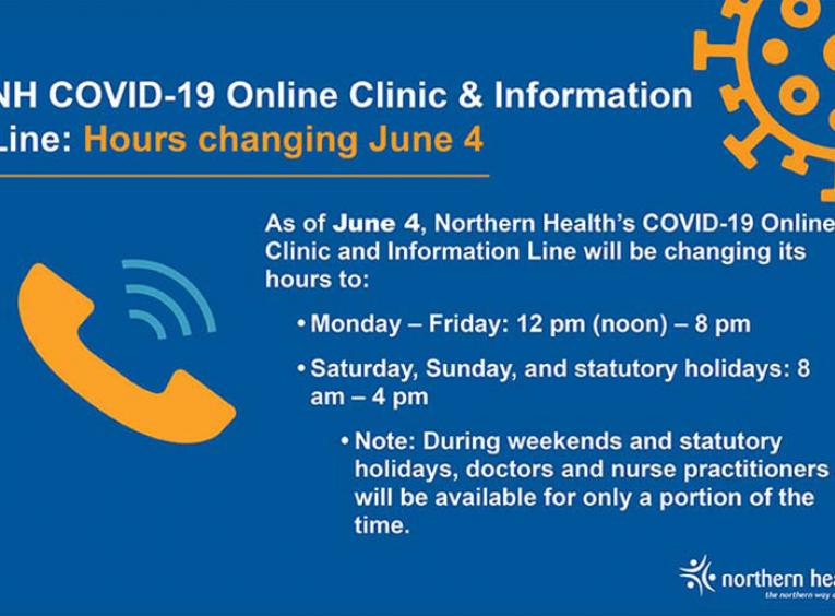 A graphic with a phone on it highlights changes to the Northern Health COVID-19 Online Clinic and Information Line.