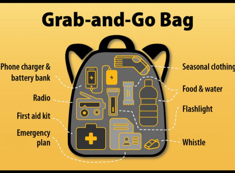 "A graphic of a ""grab-and-go"" bag features a backpack with items to include for emergencies."