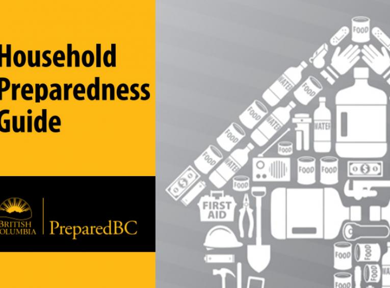 A graphic for a Household Preparedness Kit from PreparedBC.
