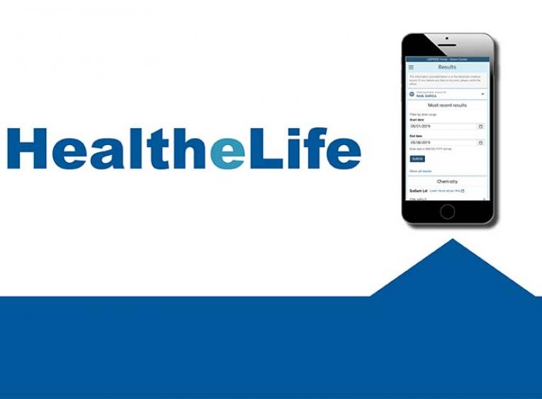 A graphic promotes the health-E-life application.