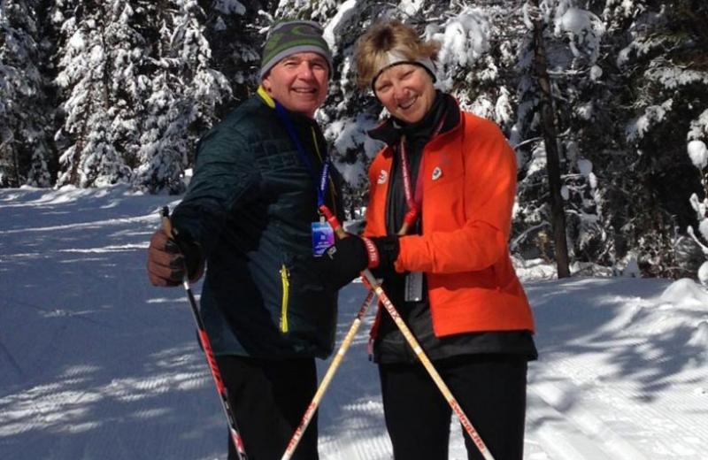 Dr Knoll cross country skiing with her husband.