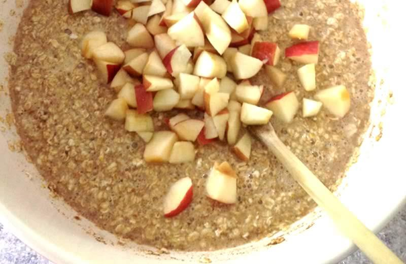 Bowl of oatmeal with chopped apples.