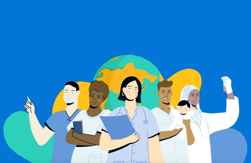 A drawing of health practitioners in front of a globe. (Image credit: World Health Organization)