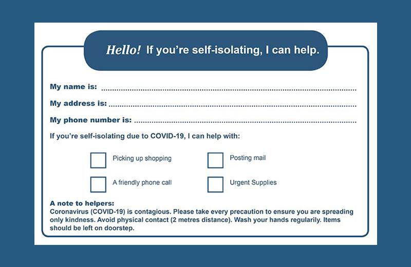An image of the printable cards that people can use to help their neighbours.