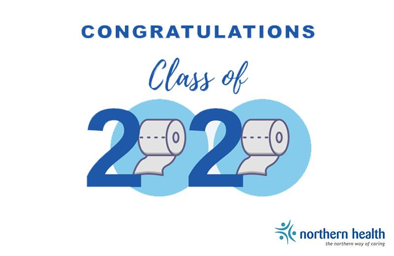 "A graphic says, ""Congratulations Class of 2020."" The rounds of the zeroes are toilet paper rolls."