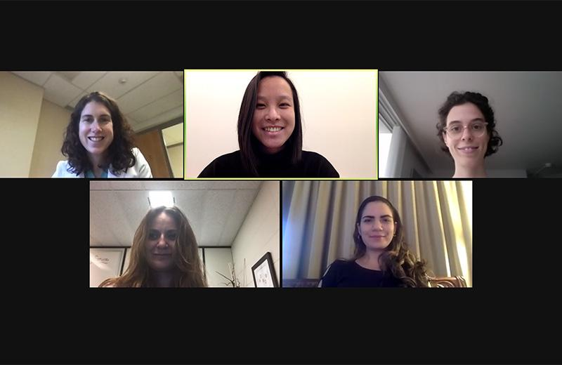 Computer screen with 5 female faces on a zoom video call