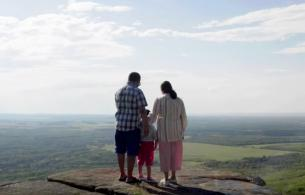 A man, woman, and child, their backs to the camera, overlook sprawling forest and fields.