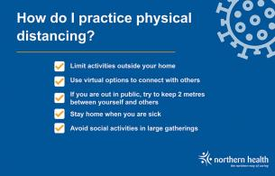 A graphic describes to to practise physical distancing.