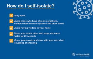 A graphic outlines how to self-isolate.