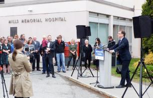 A press conference outside of Mills Memorial Hospital.