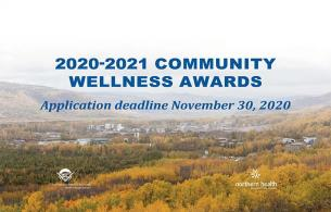landscape of a valley with the words 2020-2021 community wellness awards