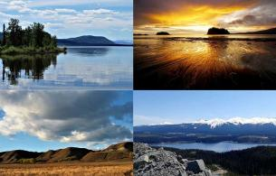 A collage of 4 photos showing a lake, ocean, mountain and plains view.