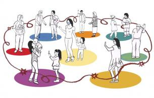 Drawing of people in a circle, standing on different coloured dots, connected by a beaded rope