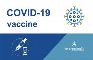 COVID-19 vaccine with needle and coronavirus particle