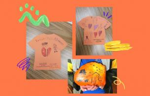 Some art work created by the winners of the Orange shirt day contest