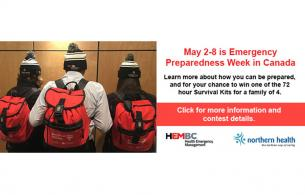 Three people wearing survival backpacks to celebrate emergency preparedness week